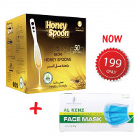 Sidr honey spoon 50pcs with 3-Layer Disposable Face Mask 50pcs