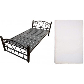 Single Steel Bed  Thick Slat Base and Medicated Mattress, Black