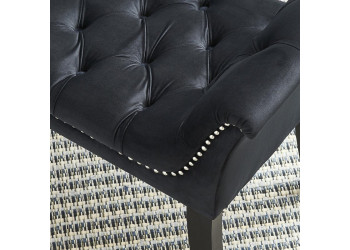 Melday Black Velvet Bench