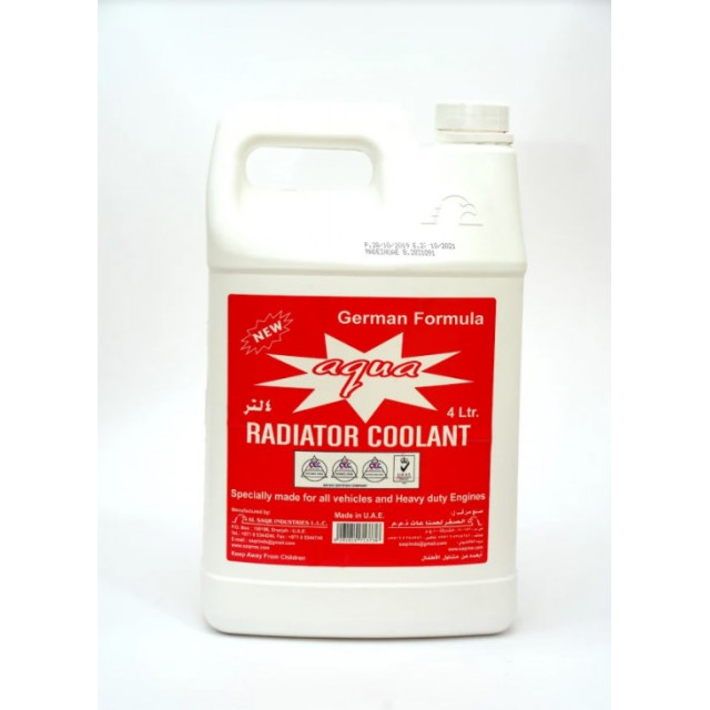 AQUA RADIATOR COOLANT RED 4 LTR  ( 4 Pieces Per Carton )