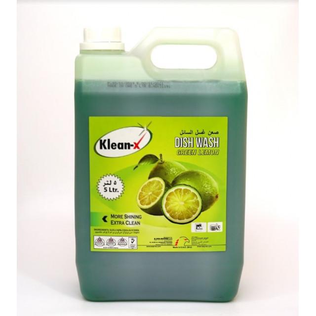 KLEAN-X DISH WASH LIQUID GREEN LEMON 5 LTR (4 pcs per box)
