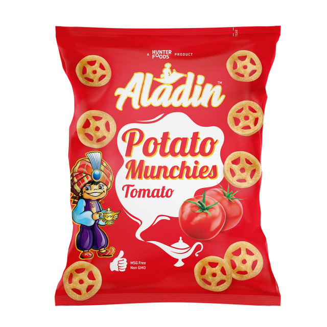 Aladin Potato Munchies – Tomato 15 grams (60 pieces per carton)