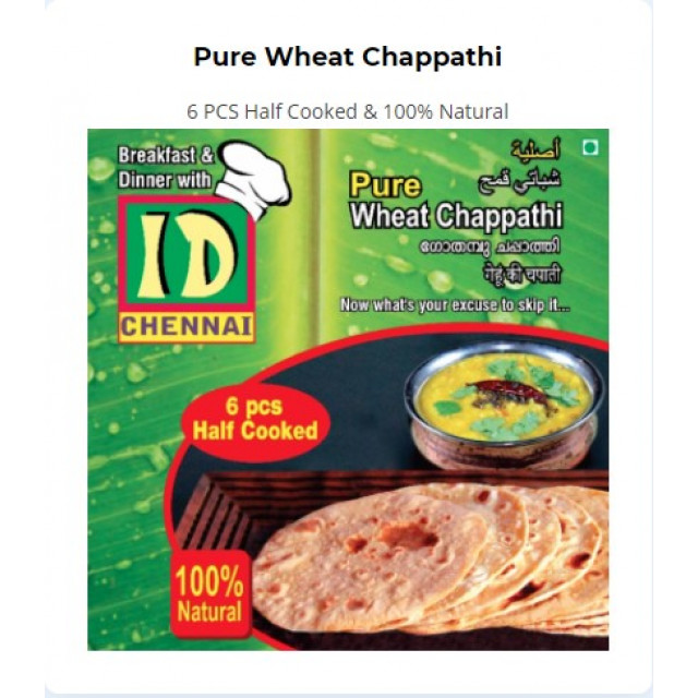 Pure Wheat Chappathi (6pcs per pack)
