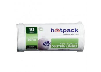 Hotpack Dustbin Liners White Roll  45 X 55 CM - 50 Piece - 10 Gallon ( 30 Packs Per Carton )