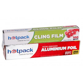 HOTPACK ALUMINUM FOIL BUY 1 GET 1 FREE-200 SQUARE FEET + CLING FILM 100 ( 12 Packet Per Carton )
