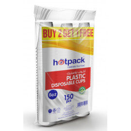 HOTPACK PLASTIC CUPS 6oz ( 2+1 outer x 10 packs per Carton)