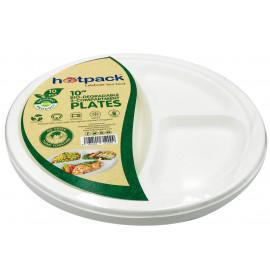 HOTPACK - BIODEGRADABLE  PLATE 10 - 3COMP 10  PIECES (20 Packs Per Carton)