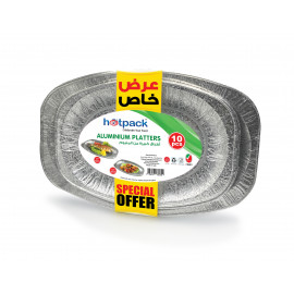 HOTPACK 10 PIECES SET OF ALUMINIUM TRAYS COMBO PACK ( 5 + 5 X 5 PACKETS )