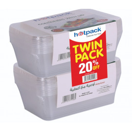 HOTPACK MICROWAVE CONTAINER 750CC+LID TWIN PACK OFFER  (15PKT x 10PCS Per Carton)
