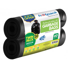 HOTPACK TWIN PACK GARBAGE ROLL 25% OFFER - 60 BAGS ( 7 Packets Per Carton )