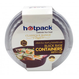 HOTPACK - 5 PIECES BLACK BASE ROUND MICROWAVABLE CONTAINER WITH LIDS  24 OUNCE ( 10 Pack Per Carton )