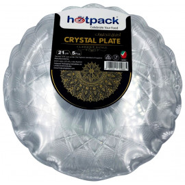 HOTPACK - 5 PIECES CRYSTAL PLATE - 21 centimetre ( 30 Pack Per Carton )
