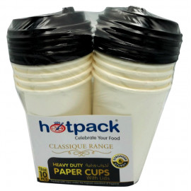 HOTPACK - 10 PIECES HEAVY DUTY PAPER CUP WHITE WITH BLACK LID 12 OUNCE ( 20 Pack Per Carton )
