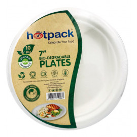HOTPACK - 10 PIECES BIO DEGRADABLE PAPER PULP PLATE 7 INCH ( 20 Pack Per Carton )