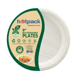 HOTPACK - 10 PIECES BIO DEGRADABLE PAPER PULP PLATE 9 INCH  ( 20 Pieces Per Carton )