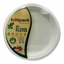 HOTPACK - 10 PIECES BIO DEGRADABLE PAPER PULP PLATE 10 INCH ( 20 Pack Per Carton )