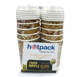 HOTPACK PRINTED RIPPLE CUP 8 OZ+LIDS - 10PC ( 20 Pack Per Carton )