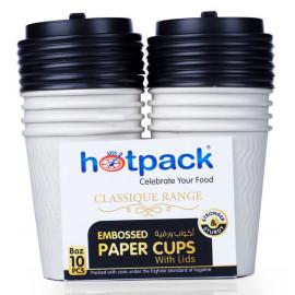 HOTPACK WHITE EMBOSSED PAPER CUPS +LID 8 OZ 10 PCS ( 20 Pack Per Carton )