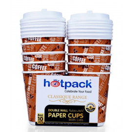 HOTPACK PAPER DOUBLE WALL CUP 8OZ 10PCS + LID ( 20 Pack Per Carton )