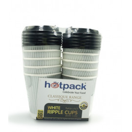 HOTPACK - 10 PIECES WHITE RIPPLE PAPER CUP WITH BLACK LID 12 OUNCE ( 20 Pack Per Carton )