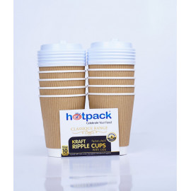 HOTPACK PAPER RIPPLE KRAFT CUP 12 OZ 10 Pieces + LID ( 20 Packs Per Carton )
