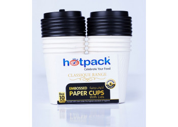 HOTPACK WHITE EMBOSSED PAPER CUPS +LID 8 OZ 10 Pieces ( 20 Packs Per Carton )