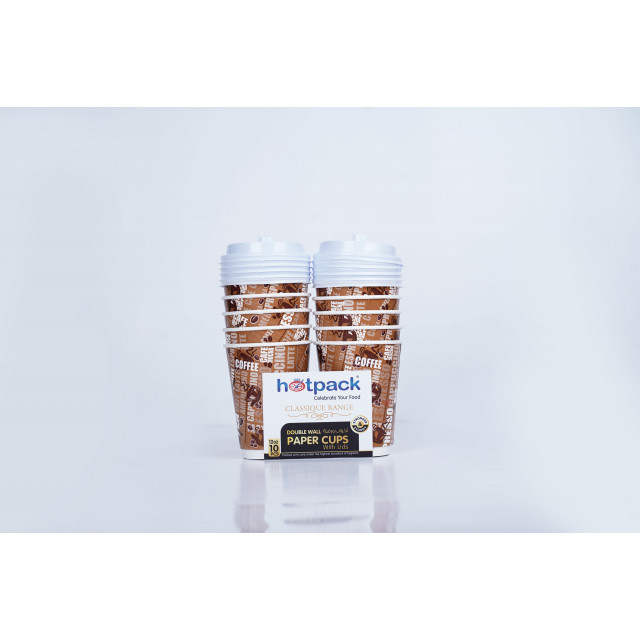 HOTPACK DOUBLE WALL CUP 12 OZ+LID-10PC (20 packs per carton)