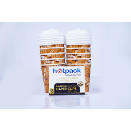 HOTPACK PAPER DOUBLE WALL CUP 8OZ 10 PIECES + LID ( 20 Packs Per Carton )