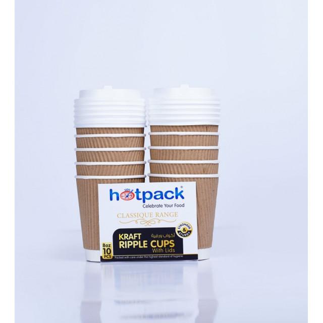 HOTPACK KRAFT RIPPLE CUP 8 OZ + WHITE LIDS 10 pcs (20 packs per carton)