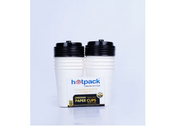 HOTPACK WHITE EMBOSSED PAPER CUPS +LID 12 OZ 10 Pieces ( 20 Packs Per Carton )