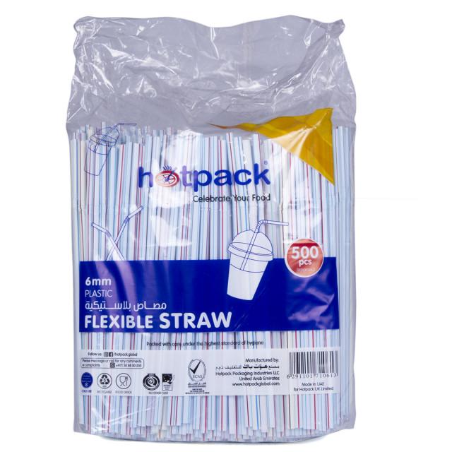 Hotpack-flexible straw 6mm, 500pcs (20 packs per carton)