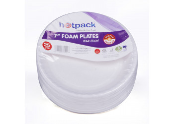 "Hotpack-round foam plate 7"" - 25pcs (40 packs per carton)"