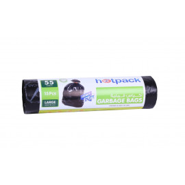 Hotpack  Garbage Bag Roll  80 X 110 cm -15 Pcs-55 Gallon ( 15 Rolls Per Carton )
