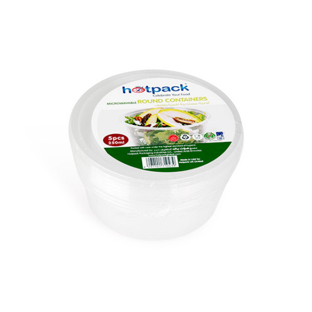 Hotpack-micro wave container Round 250ml-5pcs (20 packs per carton)