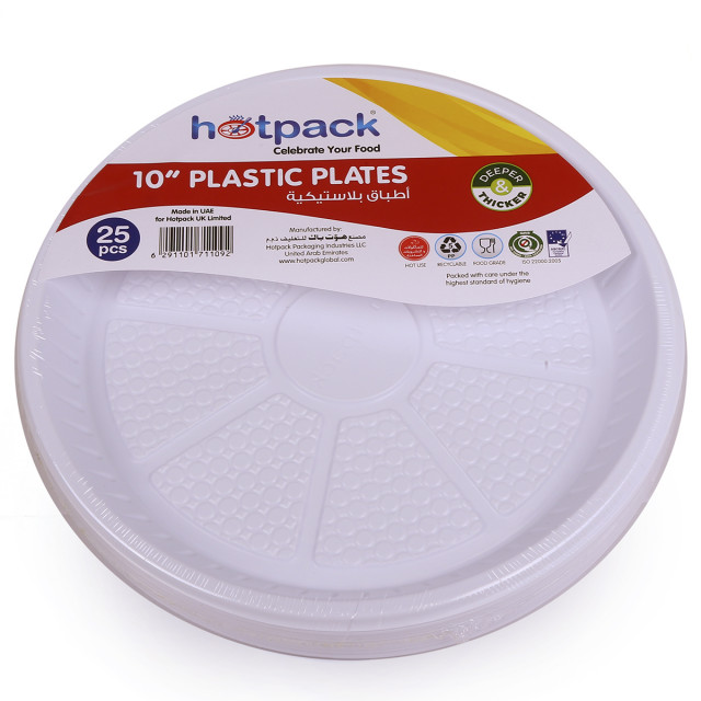 "Hotpack-plastic round plate -10"" - 25pcs (20 packs per carton)"