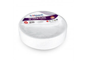 "Hotpack-round foam plate 10"" - 25pcs (20 packs per carton)"