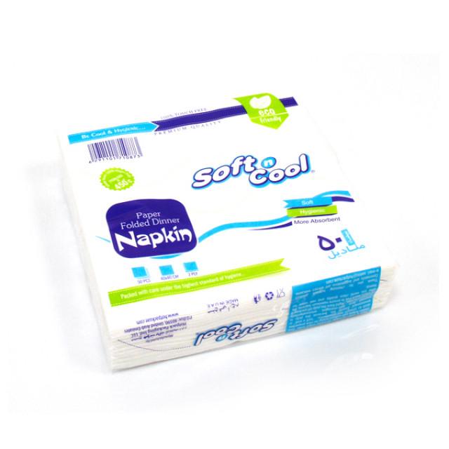 Soft n cool-paper napkin 40X40cm, 2 ply - 50pcs (40 packs per carton)