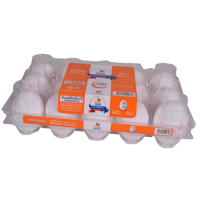 SAHA EGGS WHITE MEDIUM 15s ( 24 Tray Per Carton )
