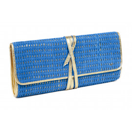 Clutch Layla Camel Woven Leather ( Blue )