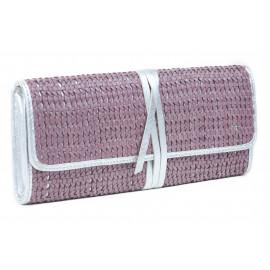 Clutch Layla Woven Leather ( Purple )