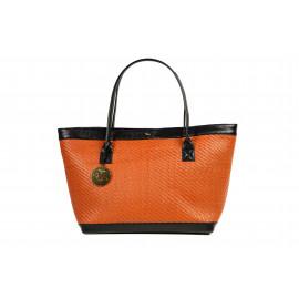 Kareema Goat Woven Leather Bag ( Orange )