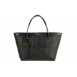 Kareema Goat Woven Leather Bag ( Black )