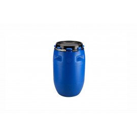 PLASTIC DRUM 120 LTR OPEN TOP WITH LID AND METAL LOCKING BAND