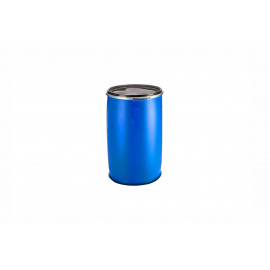 PLASTIC DRUM 220 LTR OPEN TOP WITH LID AND METAL LOCKING BAND