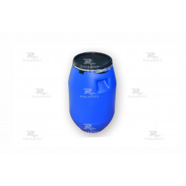 PLASTIC DRUM 50 LTR OPEN TOP WITH LID AND METAL LOCKING BAND